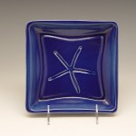 Starfish Square Plate in Blue