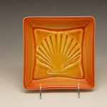 Shell Square Plate in Orange