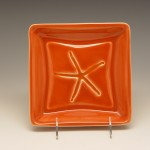 Starfish Square Plate in Orange