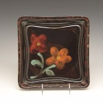 Flowered Square Plate in Brown